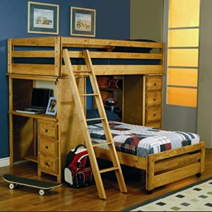 coaster wrangler hill twin over twin l shaped bunk bed in amber