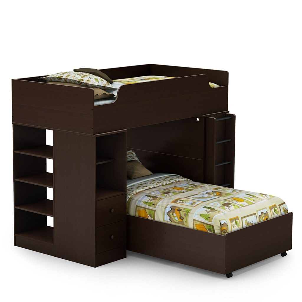 south shore logik collection l shaped bunk beds 39 inch in chocolate
