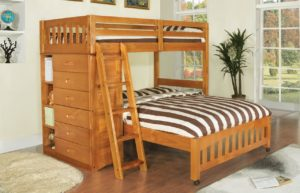 discovery world furniture l shaped bunk bed twin over full in honey